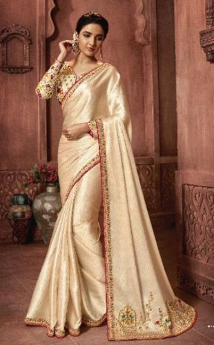 Jasmin Bhasin Beige Silk Embroidered Saree - SATFH22206