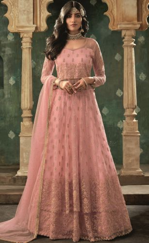Baby Pink Net Embroidered Lehenga Style Suit - SKMOHI78002