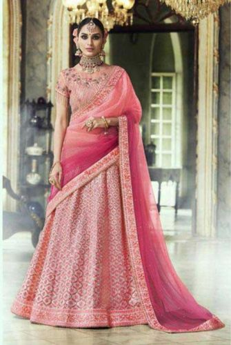Gajari Pink Heavy Embroidered Lehenga Choli - LENAKK5135