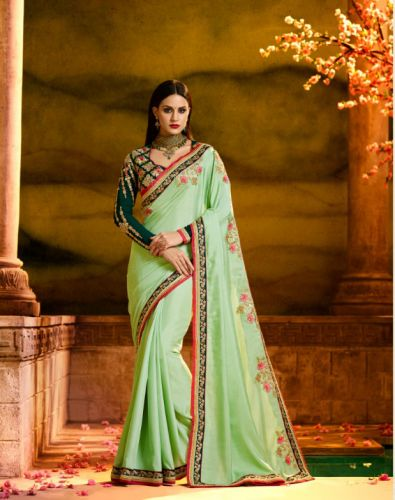 Pista Green Color Designer Georgette Saree - SAARDH1171