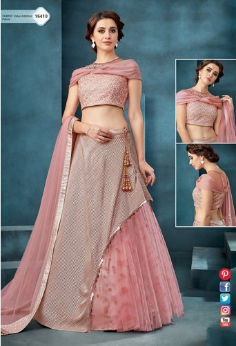 Pink Net Designer Crop Top Lehenga Choli - LEMOHM16410