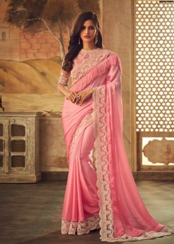 Designer Pink Masba Silk Saree with Blouse - SASAFR5113