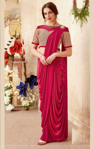 Red Lycra Ready to Wear Saree -SAMOHM5013