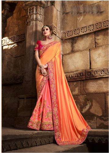 Multi-Color Embroidered Crepe Saree - SABRIJ809