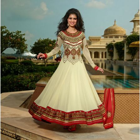 Red & Cream Georgette Anarkali Suit - TBSUKHW6012