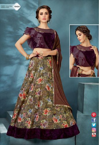 Purple Printed Velvet Crop Top Lehenga Choli - LEMOHM16424