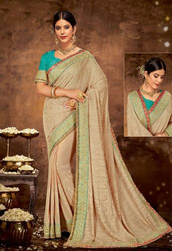 Designer Beige Art Silk Heavy Border Saree with Blouse - SAMOHMAN5528
