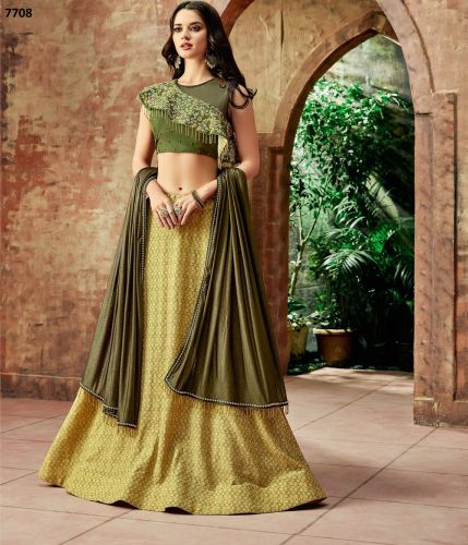 Yellow and Olive Green Designer Lehenga - LEMOHM7708
