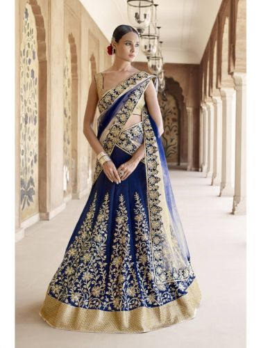 Beige and Blue Designer Lehenga Choli LENAKK5048