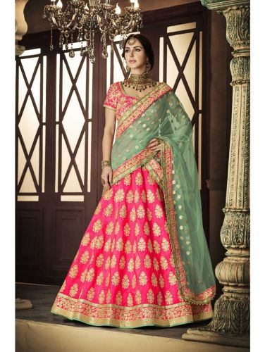 Pink Wedding Party wear Lengha choli - LENAKA5114