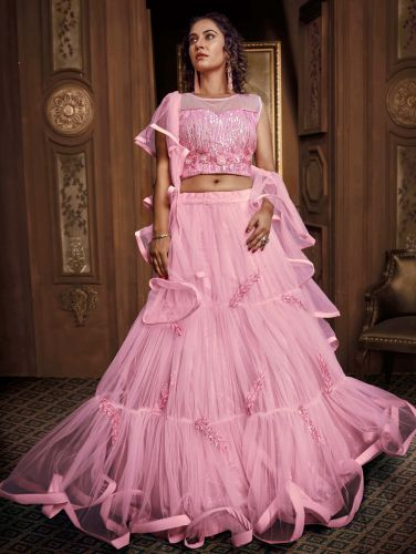 Designer Pink Net Fancy Flared Lehenga Choli with Sequins Work - LETATHA69