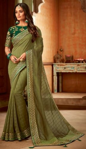 Designer Silk/Chiffon Olive Saree with Blouse - SAPEHN2410