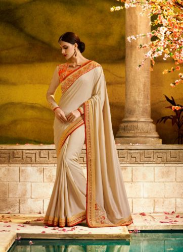 Beige Color Designer Georgette Saree - SAARDH1167