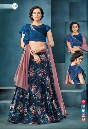 Blue Printed Velvet Crop Top Lehenga Choli - LEMOHM16409