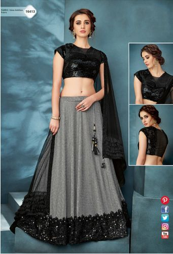 Black & Grey Lycra Crop Top Lehenga Choli - LEMOHM16413