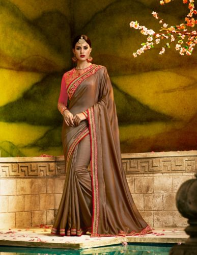 Brown Color Designer Silk Saree - SAARDH1172