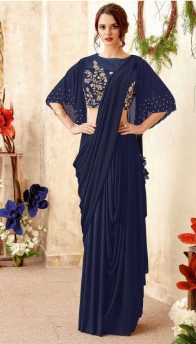 Navy Blue Lycra Ready to Wear Saree -SAMOHM5020