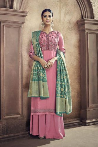 Pink Cotton Silk Embroidered Salwar Suit - SKGLOSSY058