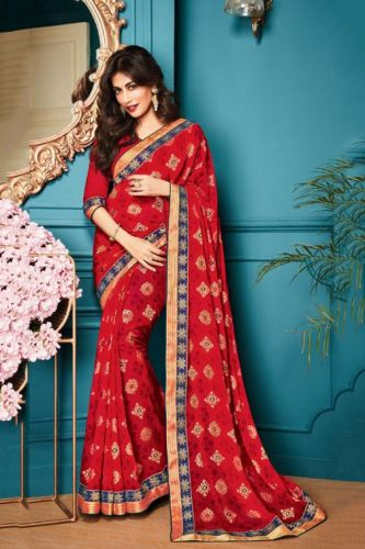 Red Georgette Printed Saree with Blouse - SAVISH14952