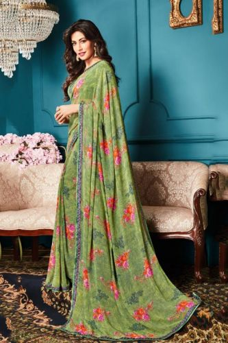 Pista Green Georgette Printed Saree with Blouse - SAVISH14961