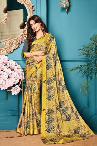 Beige Georgette Printed Saree with Blouse - SAVISH14962