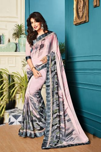 Cream & Black Georgette Printed Saree with Blouse - SAVISH14964