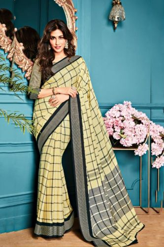 Beige Georgette Printed Saree with Blouse - SAVISH14972