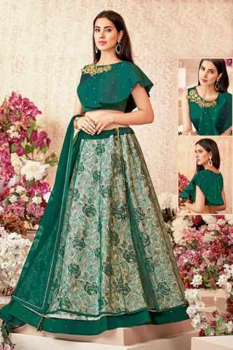 Green Silk & Net Party Wear Lehenga Choli - LEMAHO16107