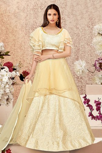 Cream Silk & Net Party Wear Lehenga Choli - LEMAHO16110