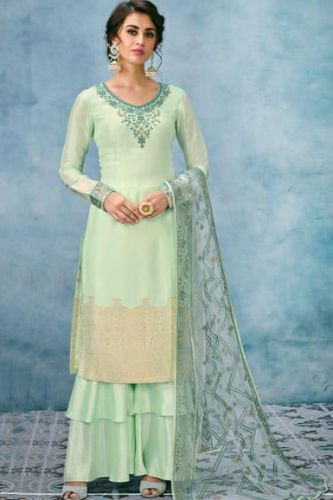 Graceful Light Green Silk Embroidered Suit with Lucknowi Work Dupatta - SKKARMA8023