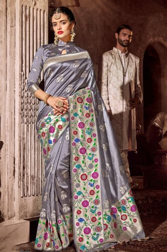 Grey Art Silk Saree with Blouse - SABFINE186000