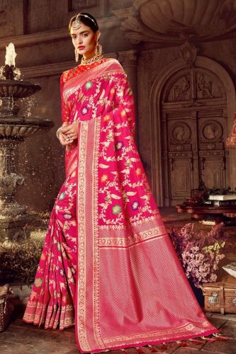 Pink Art Silk Saree with Blouse - SABFINE187001