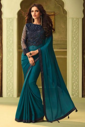 Blue Luxury Silk Designer Saree with Blouse - SATFH23003