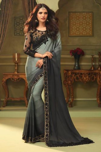 Grey Luxury Silk Designer Saree with Blouse - SATFH23007