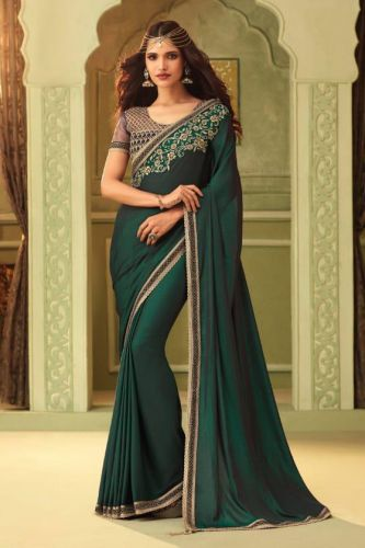 Bottle Green Mulmul Silk Designer Saree with Blouse - SATFH23009