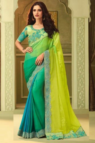 Green Luxury Silk Designer Saree with Blouse - SATFH23015