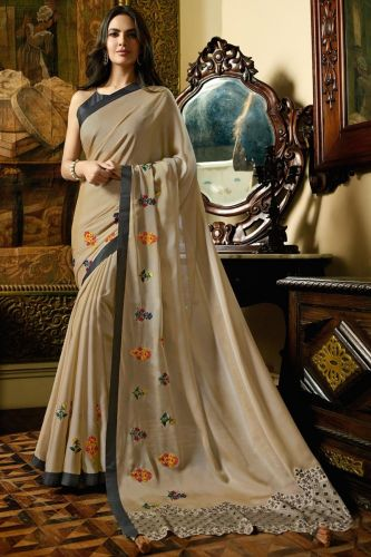 Beige Georgette Saree With Blouse - SASANSK23021