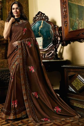 Brown Heavy Border Saree With Blouse - SASANSK23024