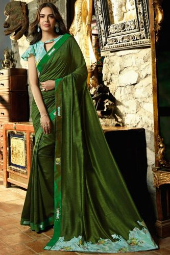 Green Art Silk Saree With Blouse - SASANSK23028
