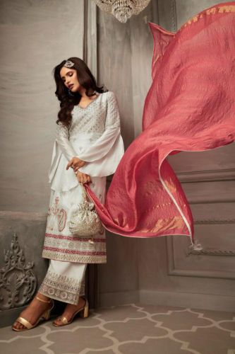 Off White Georgette Designer Sharara Suit - SKZOYA31006