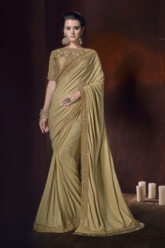 Golden Lycra Contemporary Saree With Blouse - SAMCR5101