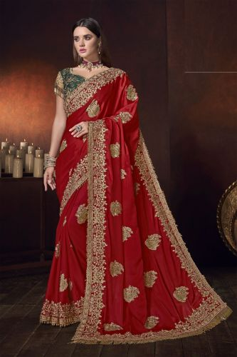 Red Satin Heavy Border Embroidered Saree with Blouse - SAMCR5102