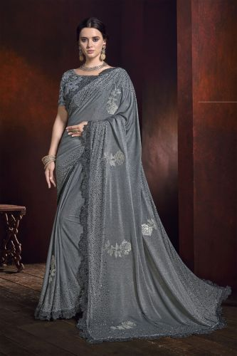 Grey Lycra Stone Embellished Saree with Blouse - SAMCR5103