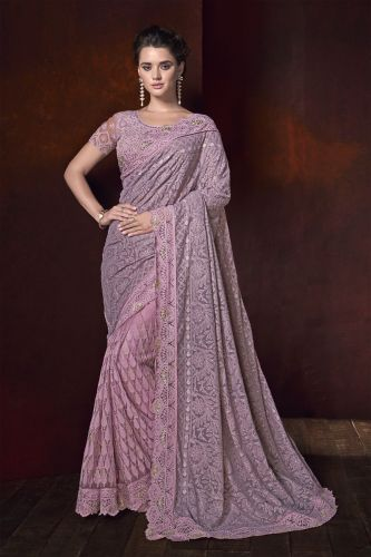 Pink Shaded Net Half N Half Saree with Blouse - SAMCR5104