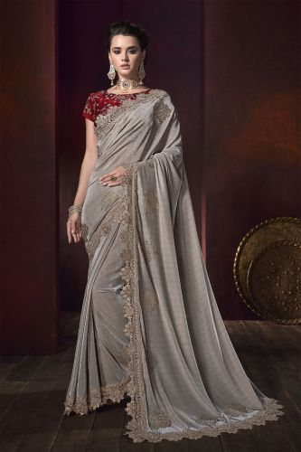 Grey Lycra Shimmery Saree With Blouse - SAMCR5105
