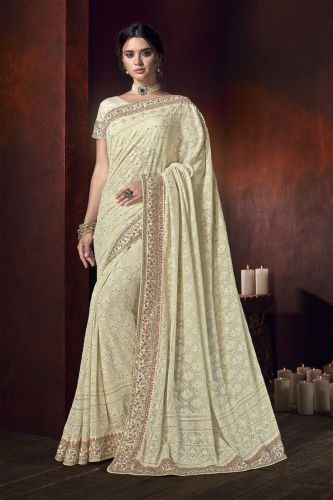 Cream Thread Embroidered Georgette Saree with Blouse - SAMCR5109