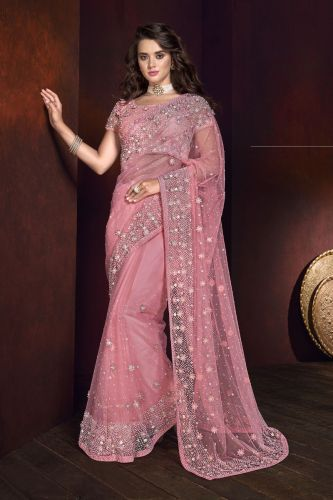 Light Pink Pearl Embellished Saree With Blouse - SAMCR5112