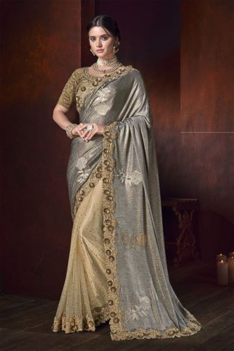 Grey And Golden Half N Half Shimmery Saree With Blouse - SAMCR5113
