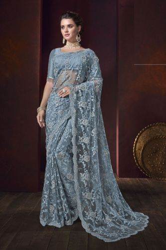 Light Blue Net Embroidered Saree With Blouse - SAMCR5114