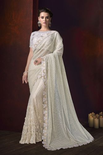 White Net Embroidered Saree With Blouse - SAMCR5115